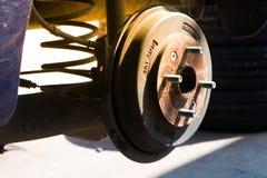 Drum brakes in garage. Close up of Drum brakes in garage Royalty Free Stock Photos