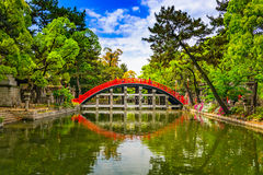 Drum Bridge in Osaka. Osaka, Japan at the Taiko Drum Bridge of Sumiyoshi Taisha Grand Shrine stock photography