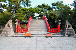 Drum Bridge of Sumiyoshi Taisha Shrine, Osaka royalty free stock photos