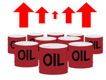 Drum cans of oil and up arrows. This cartoon-like flat vector illustration depicts the oil price Royalty Free Stock Photography