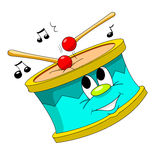 The drum. Caricature of colorful drum and notes vector illustration