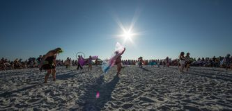 Drum Circle Dancing on Siesta Key, Florida royalty free stock image