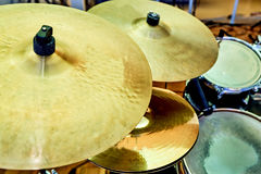 Drum cymbal and drum on background Stock Photo