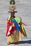 Drum Dancer in His Attire at Wangdue Tshechu Festival Royalty Free Stock Images
