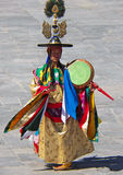 Drum Dancer in His Costume at Wangdue Tshechu Royalty Free Stock Photos