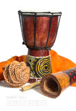 Drum, didgeridoo and ethnic musical instruments isolated on a wh stock photo