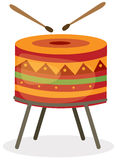 Drum with drum sticks. Illustration of isolated drum with drum sticks on white background Royalty Free Stock Photography