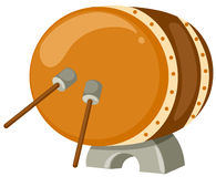 Drum with drum sticks. Illustration of isolated drum with drum sticks on white Stock Images