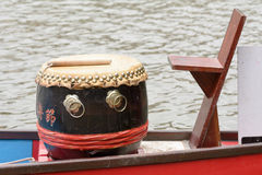 Drum and drummers seat on a dragon boat Stock Photo