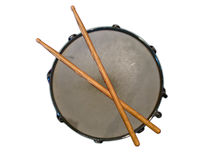 Drum with Drumsticks. A drum with two drumsticks isolated on white background Stock Images