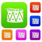 Drum and drumsticks set color collection Royalty Free Stock Photos