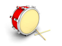 Drum and drumsticks on white background Stock Images