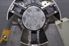 Drum for feeding sheet steel in the machine. Russia royalty free stock image