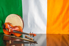 Drum fiddle and flag Stock Image