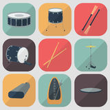 Drum flat icons. Flat design. Shadow. Vector Stock Images