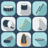 Drum flat icons. Vector Stock Images