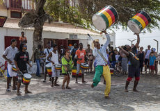 Drum group performing in square at Santa Maria on Sal, Cape Verde Royalty Free Stock Images