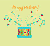 Drum happy birthday card Stock Photos