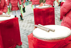 Drum in the happy moment. Drum with a pair of  gavel in a   celebrating meeting Royalty Free Stock Photo