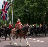 Drum horse with rider, with Household Cavalry behind, taking part in the Trooping the Colour military ceremony, London UK stock photo
