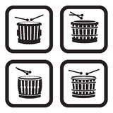 Drum icon in four variations.  Stock Images
