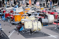Drum installations of summit participants Stock Images