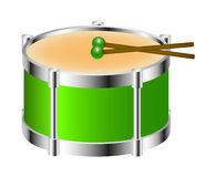 Drum instrument in green colour with drumsticks Royalty Free Stock Images