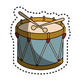 Drum instrument isolated icon Stock Images