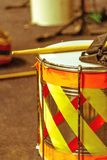Drum joy is rhythm in color. Joy of carnival drums marking the rhythm of much color, feast, and ritimo.nDrums have a fully cylindrical body Royalty Free Stock Photography