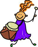 Drum kid. Happy little girl playing a drum - toddler art series Stock Image
