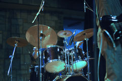 Drum kit. Drum set on the stage while band playing Royalty Free Stock Photography