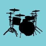 Drum Kit. Silhouette of isolated drum kit Stock Photos
