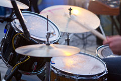 Drum kit. Ride cymbal, Floor tom, Toms, Bass drum, Snare drum and Hi-hat Stock Images