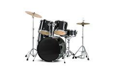 Drum kit. Black Drum kit isolated on white background Stock Photography