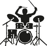Drum kit with drummer. In action Stock Image