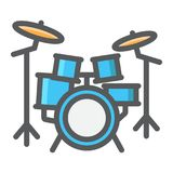 Drum kit filled outline icon, music and instrument Stock Photo