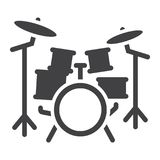 Drum kit glyph icon, music and instrument, Royalty Free Stock Photo