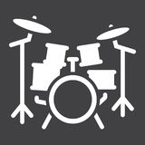 Drum kit glyph icon, music and instrument Royalty Free Stock Photography