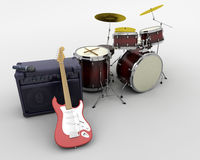 Drum kit and guitar Royalty Free Stock Photos