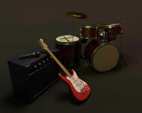 Drum kit and guitar Stock Photography
