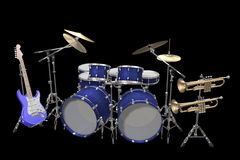 Drum kit guitar and trumpet isolated on a black. Jazz background drum kit guitar and trumpet isolated on a black background Stock Photography