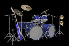 Drum kit guitar and trumpet isolated on a black. Jazz background drum kit guitar and trumpet isolated on a black background Royalty Free Stock Photos