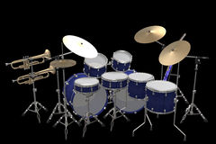 Drum kit guitar and trumpet isolated on a black. Jazz background drum kit guitar and trumpet isolated on a black background stock illustration