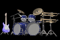 Drum kit guitar and trumpet isolated on a black. Jazz background drum kit guitar and trumpet isolated on a black background royalty free illustration