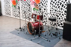 Drum kit in hall for wedding or other event Stock Images