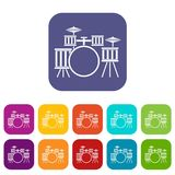 Drum kit icons set flat Royalty Free Stock Photography