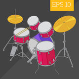 Drum kit isometric vector illustration Royalty Free Stock Image