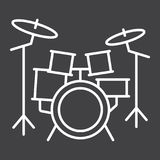 Drum kit line icon, music and instrument Royalty Free Stock Image