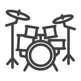 Drum kit line icon, music and instrument, Royalty Free Stock Image