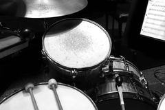 Drum Kit with Mallots Royalty Free Stock Images